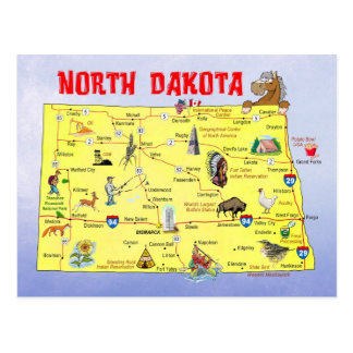 Cartão Postal Mapa do estado de North Dakota