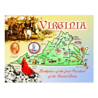 Cartão Postal Mapa do estado de Virgínia