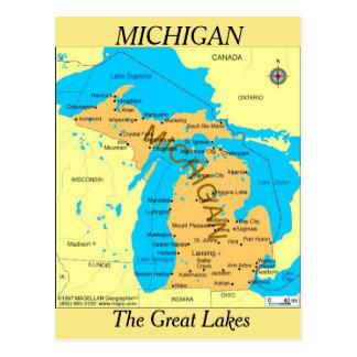 Cartão Postal Mapa do estado do Michigan