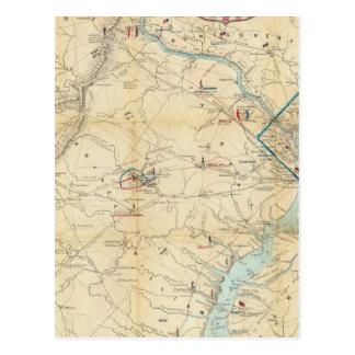 Cartão Postal Mapa do exército de Seat da guerra em Virgínia