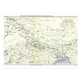Cartão Postal Mapa do motim indiano, distribuição das tropas, o