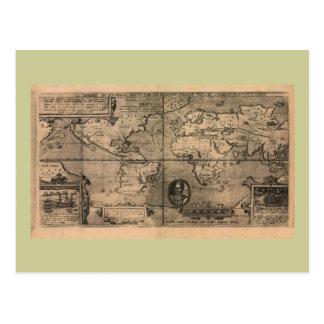 Cartão Postal Mapa do mundo 1581 antigo por Nicola camionete