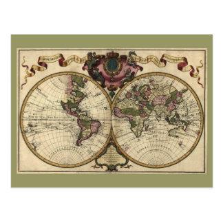 Cartão Postal Mapa do mundo antigo por Guilherme de L'Isle, 1720