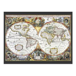 Cartão Postal Mapa do mundo antigo por Hendrik Hondius, 1630