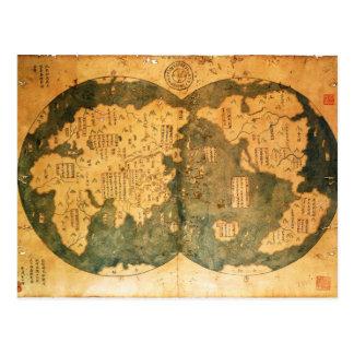 Cartão Postal Mapa do mundo de 1418 chineses por Gavin Menzies