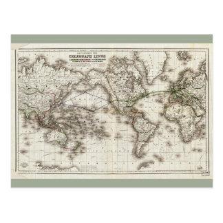 Cartão Postal Mapa do mundo do vintage que mostra as linhas de