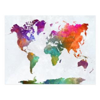 Cartão Postal Mapa do mundo na aguarela