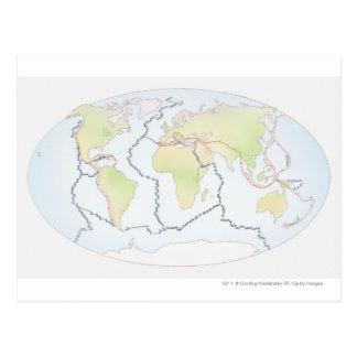 Cartão Postal Mapa do mundo que mostra margens da placa