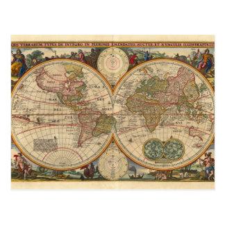 Cartão Postal Mapa do mundo raro e histórico velho antigo