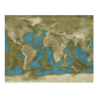 Cartão Postal Mapa do mundo secado