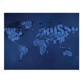 Cartão Postal Mapa do mundo tipográfico (escuro)