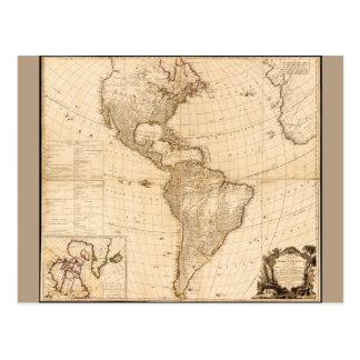 Cartão Postal Mapa do norte & da Ámérica do Sul (1786)
