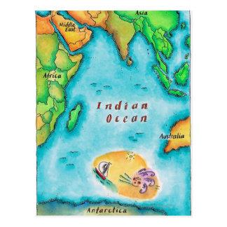 Cartão Postal Mapa do Oceano Índico