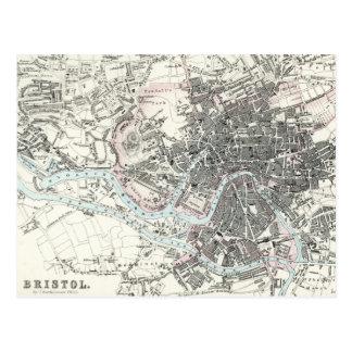 Cartão Postal Mapa do século XIX antigo de Bristol Inglaterra