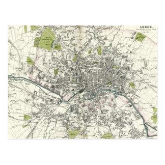 Cartão Postal Mapa do século XIX antigo de Leeds