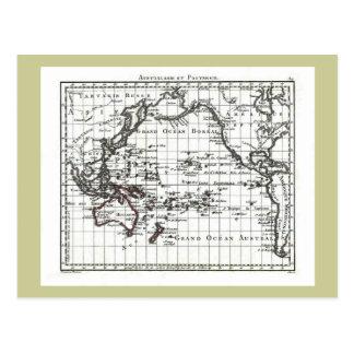 Cartão Postal Mapa do vintage 1806 - Australasie e Polynesie
