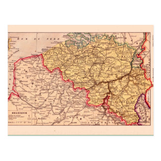Cartão Postal Mapa do vintage, 1920, Bélgica