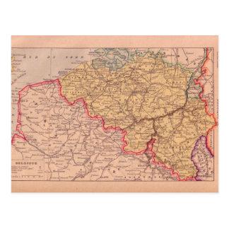 Cartão Postal Mapa do vintage, Bélgica, cerca de 1920