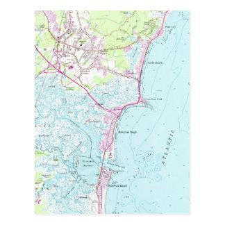 Cartão Postal Mapa do vintage da praia NH de Hampton (1957)