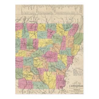 Cartão Postal Mapa do vintage de Arkansas (1853)
