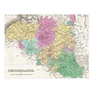 Cartão Postal Mapa do vintage de Bélgica (1827)