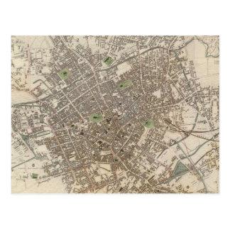 Cartão Postal Mapa do vintage de Birmingham Inglaterra (1839)