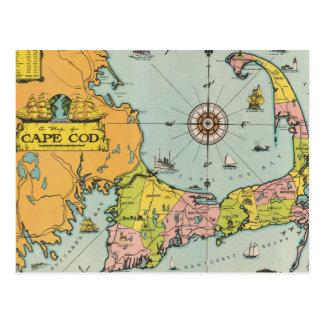 Cartão Postal Mapa do vintage de Cape Cod
