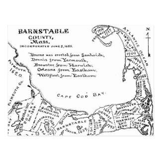 Cartão Postal Mapa do vintage de Cape Cod (1890)