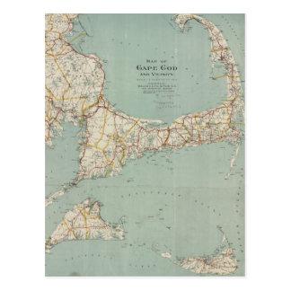 Cartão Postal Mapa do vintage de Cape Cod (1917)