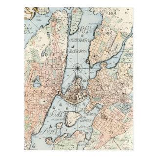 Cartão Postal Mapa do vintage de Éstocolmo (1733)