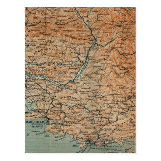 Cartão Postal Mapa do vintage de France do sul (1914)