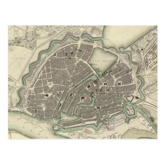 Cartão Postal Mapa do vintage de Hamburgo Alemanha (1841)