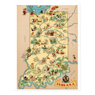 Cartão Postal Mapa do vintage de Indiana