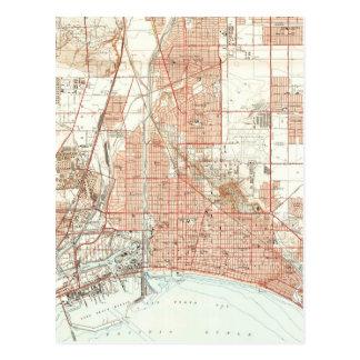 Cartão Postal Mapa do vintage de Long Beach Califórnia (1949)
