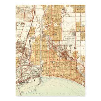 Cartão Postal Mapa do vintage de Long Beach Califórnia (1949) 2