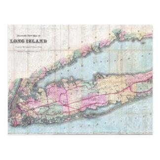 Cartão Postal Mapa do vintage de Long Island (1880)