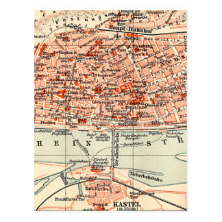 Cartão Postal Mapa do vintage de Mainz Alemanha (1905)