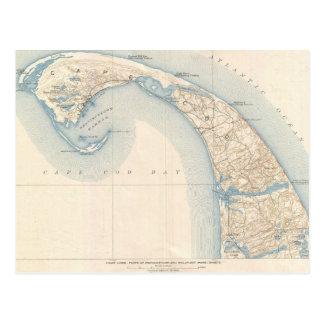 Cartão Postal Mapa do vintage de mais baixo Cape Cod