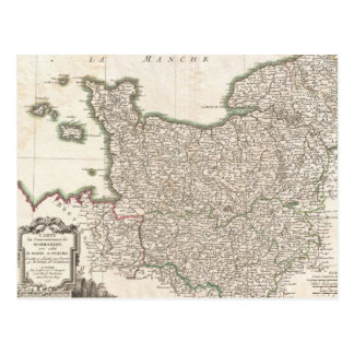 Cartão Postal Mapa do vintage de Normandy (1771)