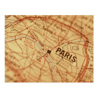 Cartão Postal Mapa do vintage de PARIS