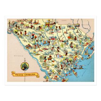 Cartão Postal Mapa do vintage de South Carolina