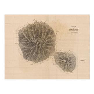 Cartão Postal Mapa do vintage de Tahiti (1845)