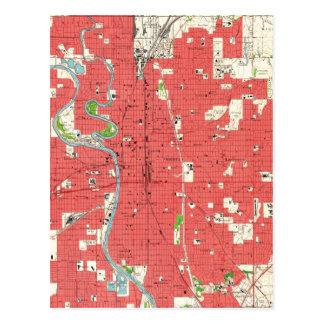 Cartão Postal Mapa do vintage de Wichita Kansas (1961)