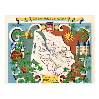 Cartão Postal Mapa do vintage do Bordéus, France