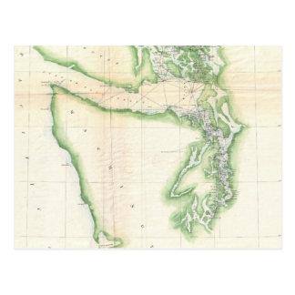 Cartão Postal Mapa do vintage do estado de Washington litoral