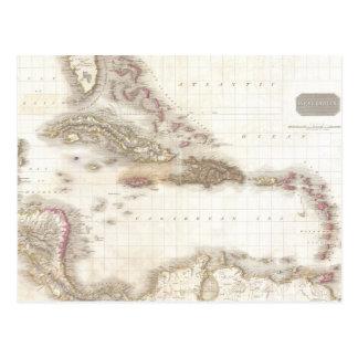 Cartão Postal Mapa do vintage do mar das caraíbas