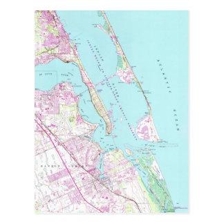 Cartão Postal Mapa do vintage do porto St Lucie Entrada (1948)
