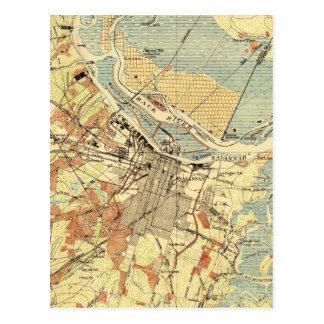 Cartão Postal Mapa do vintage do savana Geórgia (1942)