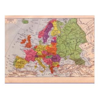 Cartão Postal Mapa do vintage, Europa cerca de 1920