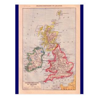 Cartão Postal Mapa do vintage, ilhas britânicas, cerca de 1920